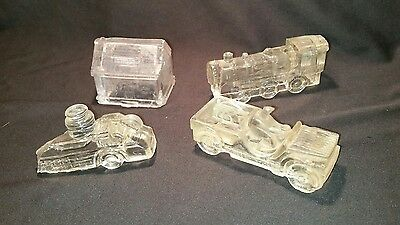4 Old Different 1940s Antique Glass Candy Containers Jeep,House,Train,Fire Truck