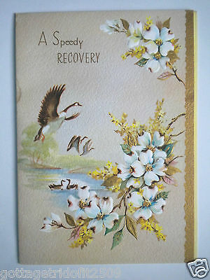 """Beautiful Embossed Vintage """"a Speedy Recovery"""" Get Well Greeting Card & Envelope"""
