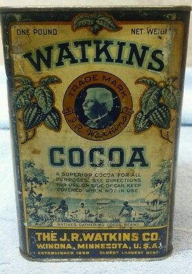 GREAT 1920's WATKINS 1LB Cocoa ☆ Advertising COUNTRY STORE Tin Awesome Graphics