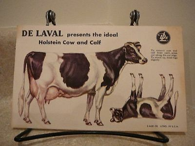 S42 Vintage Advertising Delaval Heavy Paper Holstein Cow And Calf Punch Out