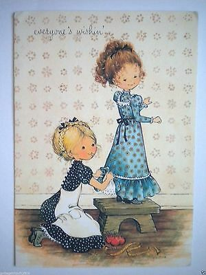 """Vintage Litho """"everyone's Wishin'"""" Get Well Greeting Card & Envelope"""
