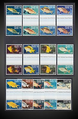 1984 Pitcairn Island Fish Gutter Vertical Pair Scarus Chaetodon Crysiptera Mnh