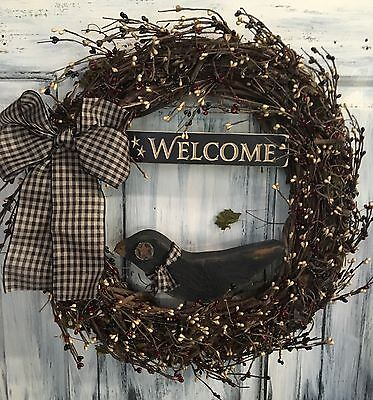 18 Inch Primitive Country Wreath W/Berries, Sign & Crow