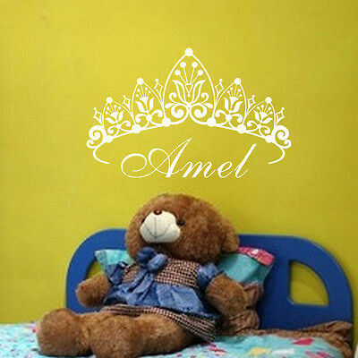 Princess Crown Wall Decal Personalized Name Sticker Girls Bedroom Nursery Decor