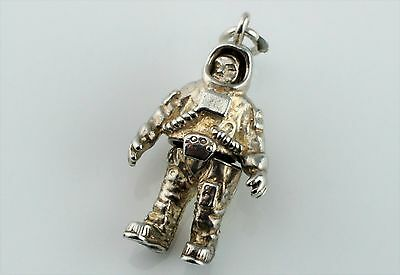 Rare Vintage Sterling Silver Moving Astronaut Charm or Pendant