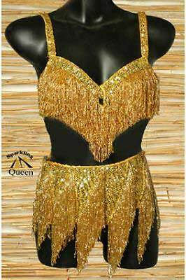 Egyptian Belly Dance Costume bra Belt Professional Dancing Gold Beads Set