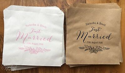 Personalised White Brown Kraft Sweet Paper Bags Wedding Candy Just Married CJM72