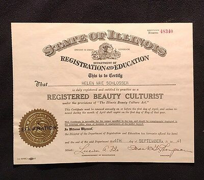 Registered Beauty Culturing State Of Illinois Vintage 1941 Dwight Green Governor