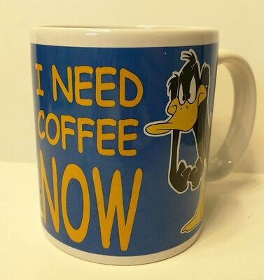 Daffy Duck I NEED COFFEE NOW Looney Tunes Warner Bros Mug Cup