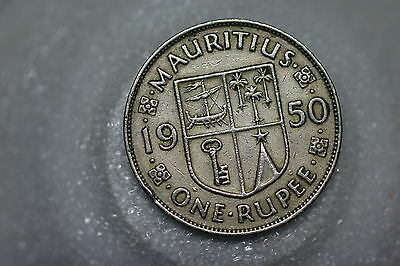 Mauritius 1 Rupee 1950 Nice Details A54 #2159