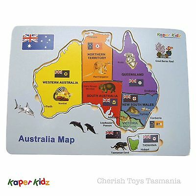 Wooden Map Of Australia Educational Tray Puzzle Montessori Flags Native Animals