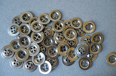 70 Vintage Steel Flat Buttons. 16mm. Diam. New Cond.