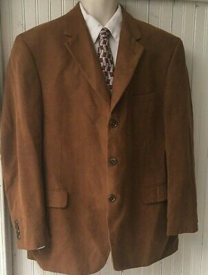 Mens Brown Gianfranco Ruffini Blazer Jacket Sport Coat  Faux Suede Modern 46R