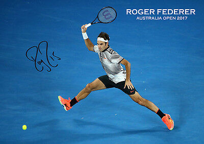 Roger Federer - Forehand Australia Open 2017 Autographed Poster Print. Perfect