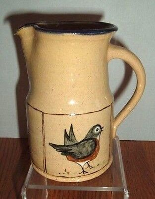 1979 Left Handed Russell Henry Yellow Ware Robin Bird Pitcher   Berks County Pa