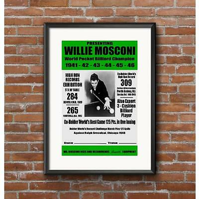 Willie Mosconi 1947 Event Poster - Pool Billiards Brunswick