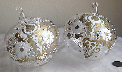 christmas ornaments pair hand blown painted glass italian gold white fancy - White And Gold Christmas Ornaments