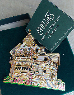 """Weller House, L.A. Ornament By Sheila, 1996, Brass Signed w/ Stand 2.75"""""""