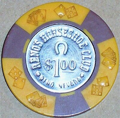 Old $1 HORSESHOE CLUB Casino Poker Chip Vintage Antique BJ Diecard Mold Reno NV