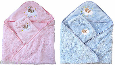 New Luxurious Cute & Soft Cuddle Baby Hooded Towel + Mitt, Pink Or Blue