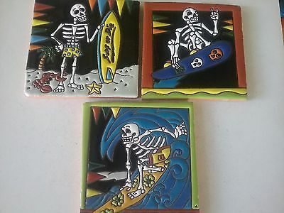 MEXICAN DAY OF THE DEAD TILES x  3    ( 15cm x 15cm each) SECONDS