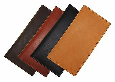 Genuine Cowhide Leather Hand Crafted Simple Checkbook Cover Free Card Inserts