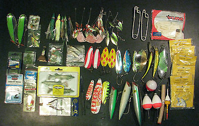 Large Fishing Lure Combo Lures Bell Bobbers Hooks Worms Lucky Lager New/Used