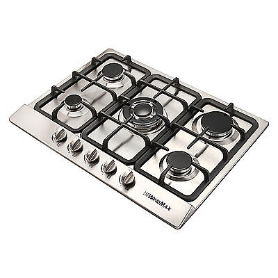 68cm 5 Burner Silver Stainless Steel Gas Cooktop Hob & Cast Iron Trivets - 680mm