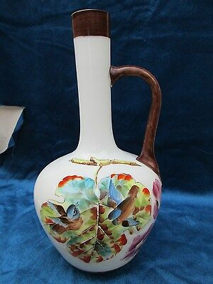 Antique hand painted milk glass jug /vase / Antique Milk Glass