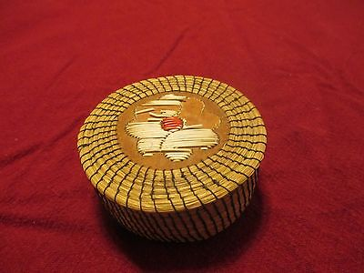 Vintage Native American Porcupine Quill Decorated Sweet Grass Wrapped Box