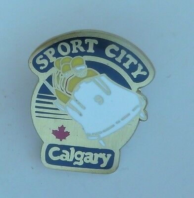 Sport City Calgary Alberta Bobsled Lapel Hat Souvenir Pin