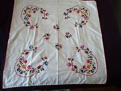 "Vintage Table Cloth hand Embroidered Floral Kalocsa Ethnic Hungarian 34"" Sq Rare"