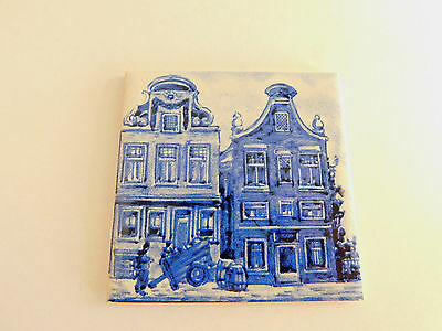 "Vintage KLM Airlines Business Class Regina Delft Blue Tile Coaster Dutch 3"" x 3"""