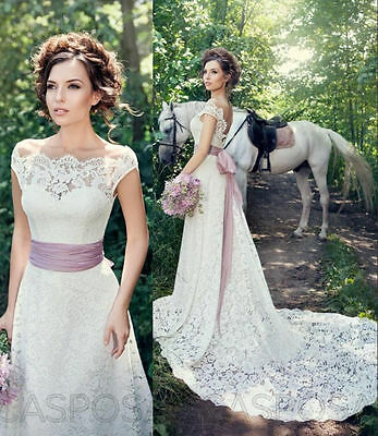 Stock New White/Ivory lace Wedding Dress Bridal Gown size 6-16