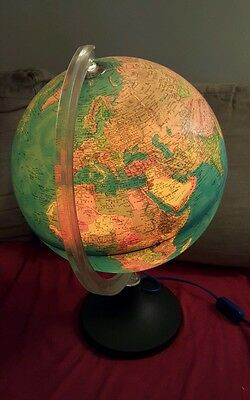 Vintage Rand McNally Light-up Lighted Globe 1982 Physical Political Lamp