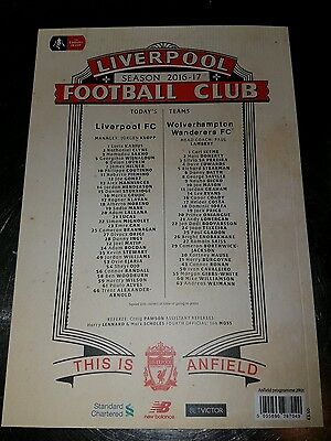 Liverpool v Wolves FA Cup 4th round programme brand new.