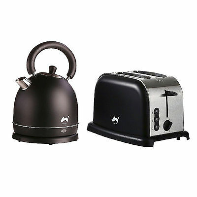 Electric Kettle And Toaster Breakfast Set Brushed Steel Classic Matte Black