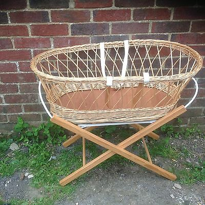 Vintage Wicker Shop  Display Crib Carry Cot Basket With Stand Display
