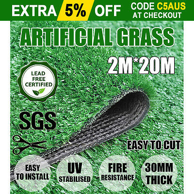 40SQM Synthetic Artificial Grass Plastic Plant Fake Lawn Flooring Durable 30mm