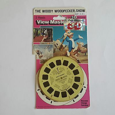 Viewmaster three reel carded packet set 3d The Woody Woodpecker Show