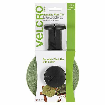 VELCRO® Brand REUSABLE PLANT TIES WITH CUTTER 12mmx13.7m Adjustable GREEN