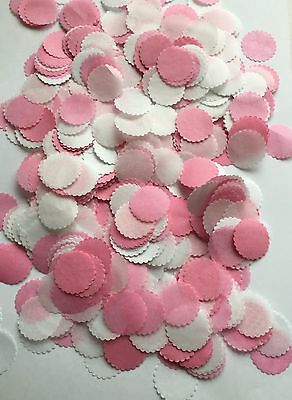 Pink and White Tissue Circle Confetti Wedding Baby Girl Christening Table & Dec