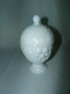 AVON White Milk Glass Footed Candy Jar with Lid - Collectible
