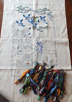 Vintage Transfer Printed Oriental Part Completed Embroidery & 50+ Threads