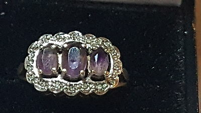 9 carat solid gold amethyst & diamond vintage Art Deco antique ring – size P