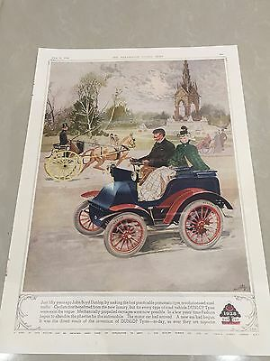 Rare Large Colour DUNLOP Tyre Vintage Advert 1938 L51 50 Years Of Growth