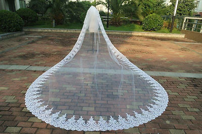 New 3M 1- Layer Bride Wedding Veil Lace Purfles with Comb Custom
