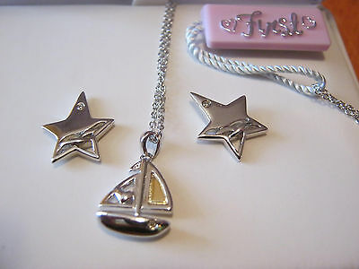 First Love girl's .925 sterling silver boat pendant, silver star earrings, NWT