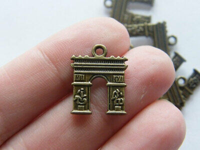 GC815 6 Paris Arc de Triomphe Charms Antique Gold Tone 2 Sided