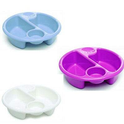The Neat Nursery co.  Circular Top 'n' Tail Bowl -Blue/Pink/Plum/White